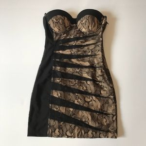 Bebe Bodycon Black Lace Dress, Sz 2